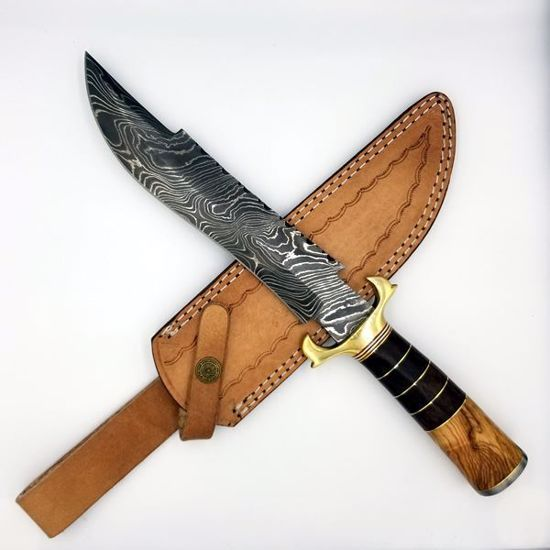 Damascus Bowie Knife w/sheath