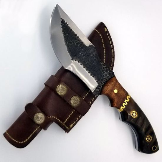 Hammered D-2 Steel Tracker Knife w/sheath